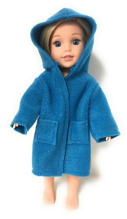 Blue Hooded Robe for 14.5 inch American Girl Wellie Wishers