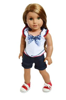 Blue Patriotic Doll Clothes Set for 18 Inch American Girl Do