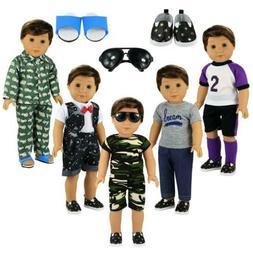 BARWA Boy Doll Clothes 5sets 2 Pairs Shoes 1 Pair Glasses 18