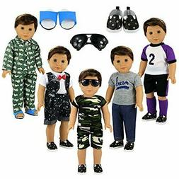 BARWA Boy Doll Clothes 5sets Boy Doll Clothes 2 Pairs Shoes