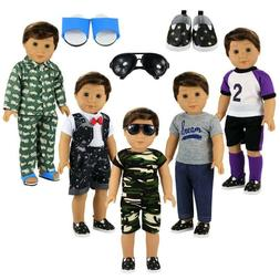 Barwa Boy Doll Clothes 5Sets Boy Doll Clothes+2 Pairs Shoes