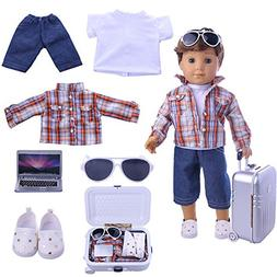 ZWSISU Boy Doll Clothes- Lot 7=1 Daily Travel Notebook Cloth