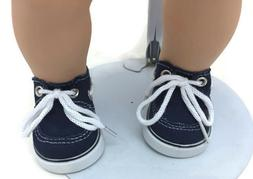 Boy Navy Boat Canvas Shoes for 15 inch Bitty Baby & Twin Dol