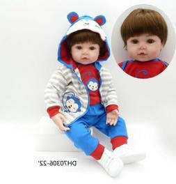 Boy Vinyl Silicone Lifelike Doll Baby Reborn 22'' Handmade D