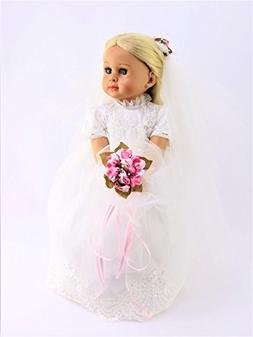 """Beautiful Bride with Light Pink Flowers #608 -Fits 18"""" Ameri"""