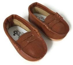 """BLACK Canvas Penny Loafers Doll Shoes For 18/"""" American Girl Boy Logan Debs"""
