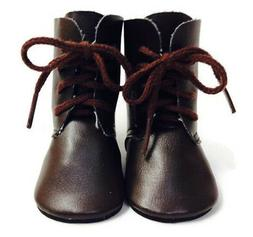 """Brown Tie Boot Shoes made for 18"""" American Girl Doll Clothes"""