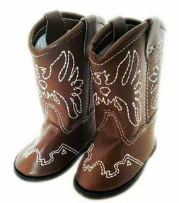 Brown Western Doll Boots Shoes Fits 18 Inch American Girl Do