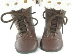 "Brown Work Boots for 18"" American Girl Addy Doll Clothes Sew"