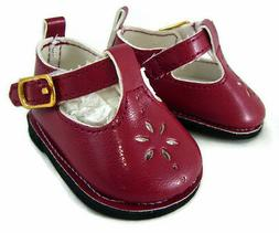 Burgundy Wine T-Strap Shoes for Bitty Baby Doll Clothes Sew