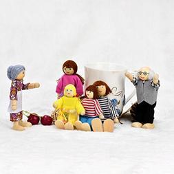 E-SCENERY 6Pcs Carton Poseable Wooden Doll Family Pretend Pl