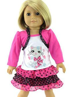 """Cat Purr-fect Skirt Set Fits 18"""" American Girl Doll Clothes"""