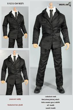 CC213 1/6 DOLLSFIGURE MIB Black Men Suit Full Set-Fit HOT TO