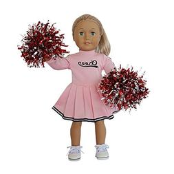 18 Inch Baby Girls Toy Doll Clothes Set, Pink Cheerleader dr