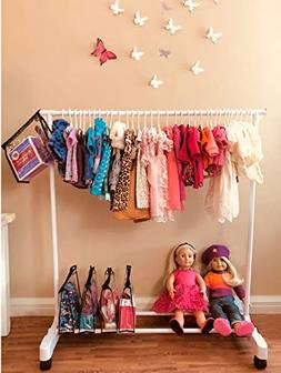 Boottique Child Garment Rack Kids Closet Organizer American Girl Doll Storage System with Accessory Keepers