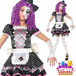 Childrens Girls Damaged Doll Halloween Party Costume
