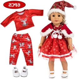 ebuddy 5pc Christmas Doll Clothes Sets with Doll Shoes for 1