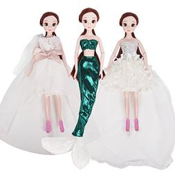 3 Pcs Classic Princess Dresses Clothes for Barbie Dolls