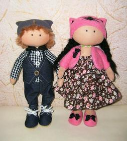 Cloth doll, set dolls girl and boy, handmade doll, textile d