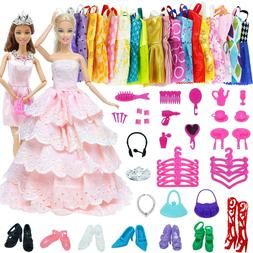 Clothes And Accessories For Barbie Doll 61 Pcs Dress Accesso