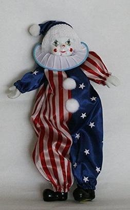 Clown Porcelain Doll 8 Inches with Flag Day Cloth Blue , Red