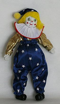 Clown Porcelain Doll 8 Inches with Flag Day Cloth Gold and B
