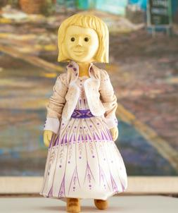 Collectible hitty size wooden hand-carved doll -Clothes are