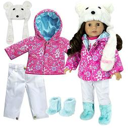Complete 18 Inch Doll Winter Outfit Set with Polar Bear Hat,