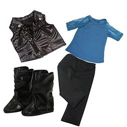 Arianna Complete 4pcs Outfit Bundle | Black Faux Leather Ves