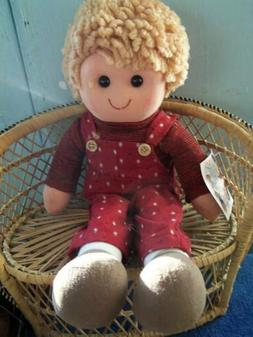 Country Dolls Rag Doll ~ 14 inch Boy Doll with Blond Hair an