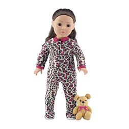 18 Inch Doll Clothes | Cozy Footed Pink Cheetah Print Pajama