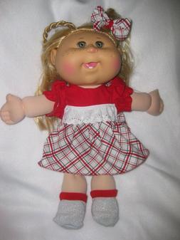 CPK doll clothes/14 inch/red/plaid dress/handmade/socks/hair