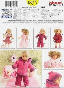 Burda Craft Easy Sewing Pattern 7753 Doll Clothes Complete W