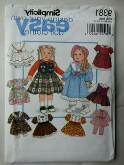 """Simplicity Craft Sewing Pattern 9381 ~ Design your Own 18"""" D"""