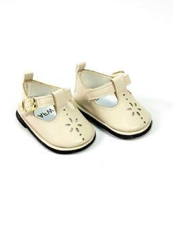 "Cream Flower Mary Jane Dress Shoes Fits 18"" American Girl Do"