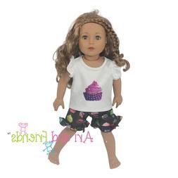 cupcake pajamas pjs 2pcs doll clothes fits