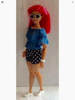 Curvy Barbie Doll Clothing Denim Top Dot Shorts Round Sungla