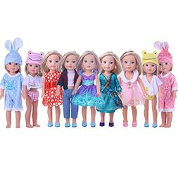 ZWSISU Cute Doll Clothes for American Girl Dolls:- 5sets Clo