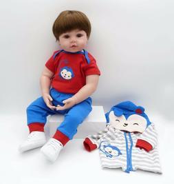 """Cute Reborn Toddler Boy 24"""" Life-like Reborn Baby Dolls Boy"""