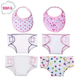 DC-BEAUTIFUL 4 Pcs Doll Diapers Doll Underwear and 2 Pcs Dol