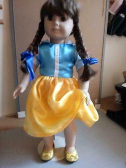 DISNEY SNOW WHITE DRESS AND SHOES FITS AMERICAN GIRL AND 18