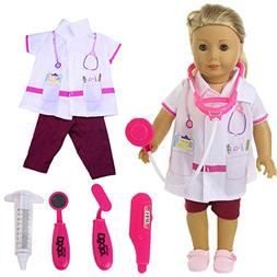 ZWSISU Doctor Doll clothes 5pcs Stethoscope set for 18inch A