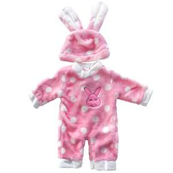 Doll Clothes, AOFUL Flush Bunny Jumpsuit Pajamas with Hat Fi