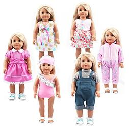 18 Inch Doll Clothes 6 Set Doll Outfits for 14 and 16 Inch N