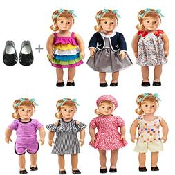 "18"" Doll Clothes 7 Outfits + 1 Pair Shoe Accessories Set for"