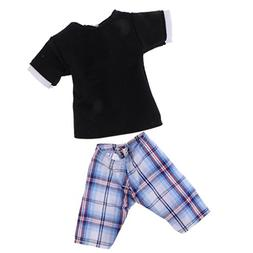 MagiDeal Doll Clothes for Barbie Ken Shirt Tops Checked Pant