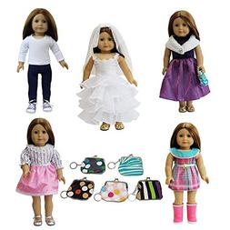 6 PCS American Girl Doll Clothes and Accessories Set | Dress