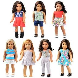 Bili 18 Inch Doll Clothes, 7 Outfit Doll Accessories Compati