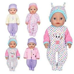 7 Pcs Doll Clothes with Hat and Coat for 43cm New Born Baby