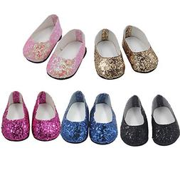 18 Inch Doll, Cute 6PCS Glitter Sequins Shoes Doll Dress,Fit